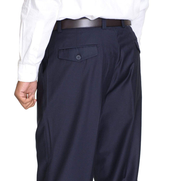 Raphael Classic Fit Solid Navy Blue Pleated Washable Dress Pants - The Suit Depot