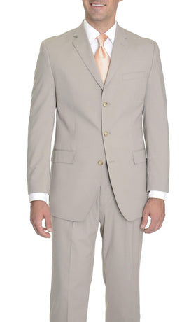Sean John Classic Fit Taupe Stepweave Wool Blend Suit