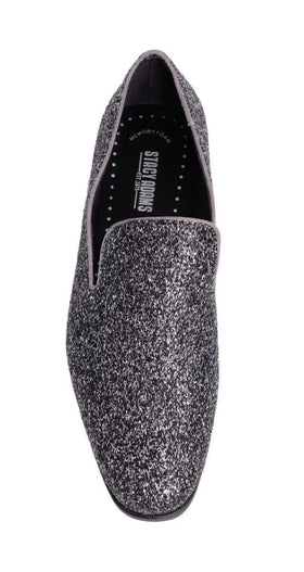 Stacy Adams Swank Silver & Gray Sparkle Slip-on Dress Shoes