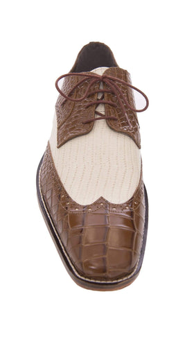 Stacy Adams Giordano Brown Cream Contrast Croc Print Wingtip Leather Dress Shoe