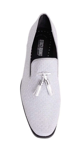 Stacy Adams Swank Tassel Textured Silver Sparkle Slip-on Dress Shoes