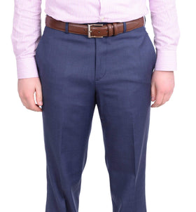 Stafford Classic Fit Solid Blue Flat Front Washable Wool Blend Dress Pants