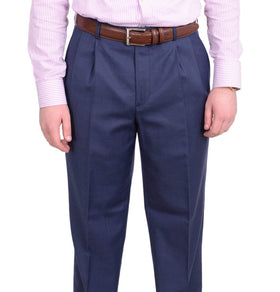 Stafford Classic Fit Solid Blue Double Pleated Wool Blend Washable Dress Pants