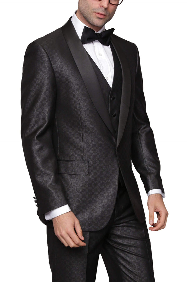 Modern Fit Black Sharkskin One Button Three Piece Wool Blend Tuxedo Suit - The Suit Depot
