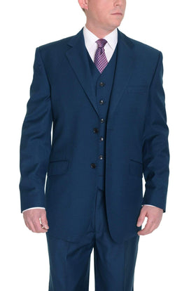 Classic Fit Solid Indigo Blue Two Button Three Piece Wool Suit