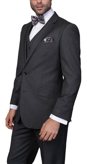 Mens Classic Fit Charcoal Striped Two Button Three Piece Wool Suit