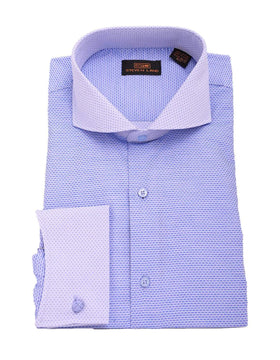 Steven Land Blue Textured Contrast Cutaway Collar French Cuff Cotton Dress Shirt