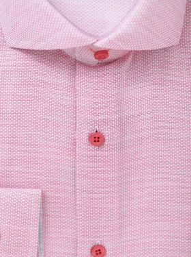 Steven Land Mens 100% Cotton Red Textured Regular Fit Cutaway Collar Dress Shirt