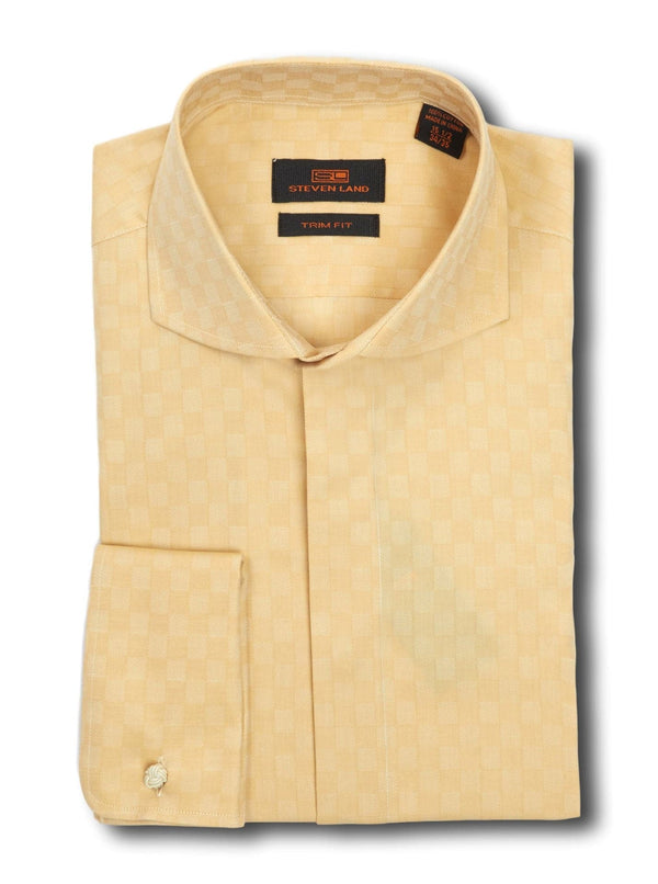 Steven Land Trim Fit Tan Check Cutaway Collar French Cuff Cotton Dress Shirt - The Suit Depot