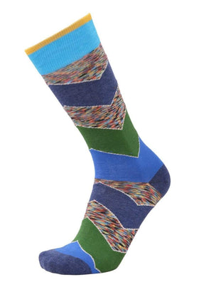 Tallia Mens Blue & Green Chevron Cotton Blend Dress Socks