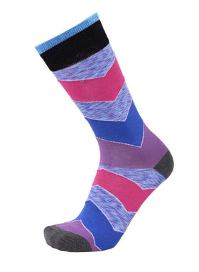 Tallia Mens Pink Blue & Purple Chevron Cotton Blend Dress Socks