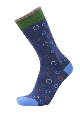 Tallia Orange Mens Blue & Green Circles Cotton Blend Dress Socks