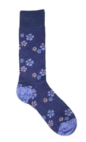 Tallia Mens Blue Floral Pattern Cotton Blend Dress Socks
