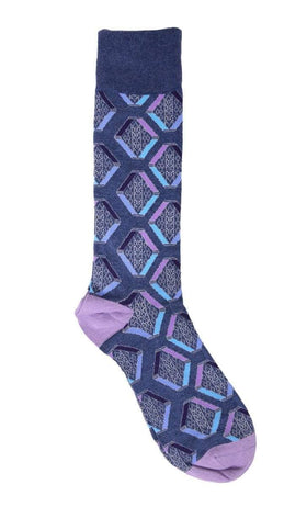 Tallia Mens Blue Geometric Pattern Cotton Blend Dress Socks