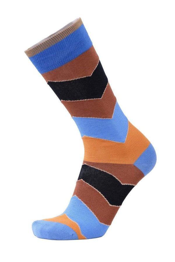 Tallia Mens Brown Blue & Black Cotton Blend Dress Socks - The Suit Depot