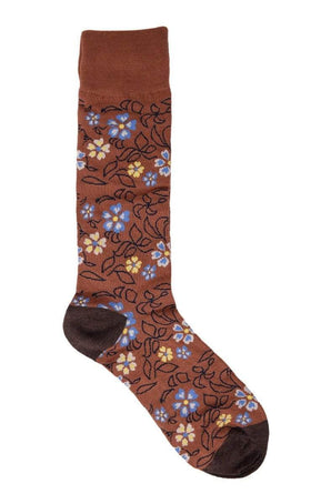 Tallia Mens Brown Floral Pattern Cotton Blend Dress Socks