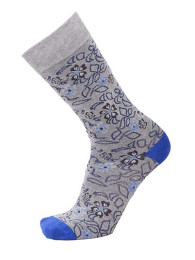 Tallia Mens Gray Floral Pattern Cotton Blend Dress Socks