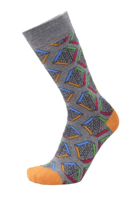 Tallia Mens Gray Geometric Pattern Cotton Blend Dress Socks