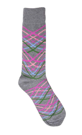 Tallia Mens Gray Striped Pattern Cotton Blend Dress Socks