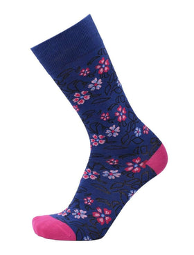 Tallia Mens Royal Blue Floral Pattern Cotton Blend Dress Socks