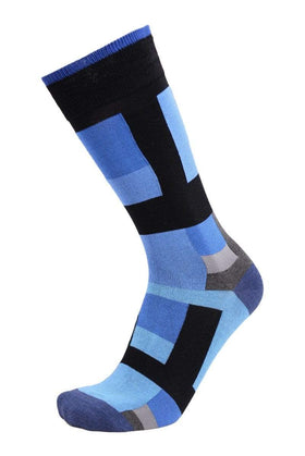 Tallia Orange Blue & Black Squares Cotton Blend Dress Socks