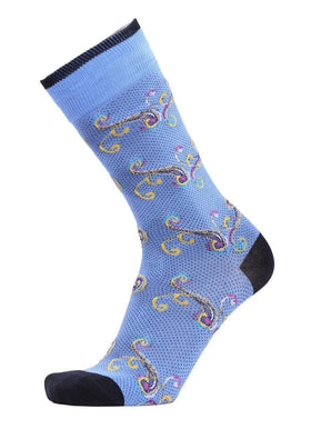 Tallia Orange Blue Yellow & Pink Paisley Cotton Blend Dress Socks