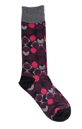 Tallia Orange Burgundy & Gray Circles Cotton Blend Dress Socks