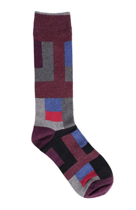 Tallia Orange Burgundy & Gray Geometric Cotton Blend Dress Socks