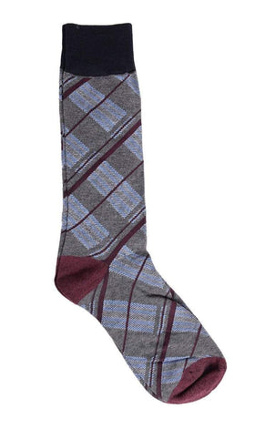 Tallia Orange Gray With Blue & Burgundy Plaid Cotton Blend Dress Socks