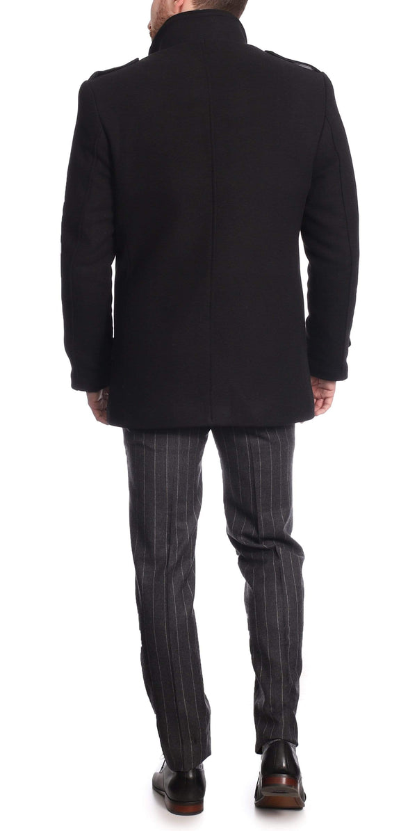 The Montreal Collection The Montreal Collection Black Wool Cashmere Men's Car Coat With Quilted Lining