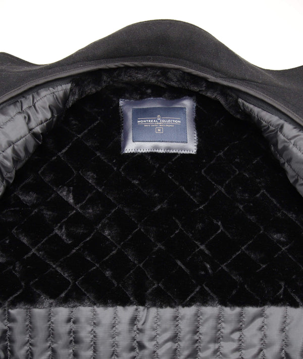 The Montreal Collection Black Wool Cashmere Men's Car Coat With Quilted Lining - The Suit Depot