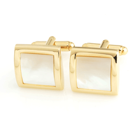 Mens Gold Mother Of Pearl Cufflinks