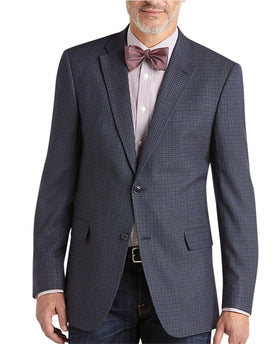 Tommy Hilfiger Trim Fit Blue Check Two Button Silk Wool Blend Blazer Sportcoat