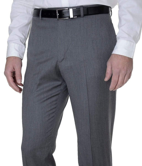 Tommy Hilfiger PANTS 30X32 Tommy Hilfiger Mens Trim Fit Gray Textured Flat Front Wool Dress Pants