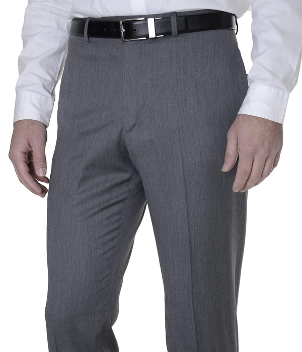 Tommy Hilfiger Mens Trim Fit Gray Textured Flat Front Wool Dress Pants - The Suit Depot