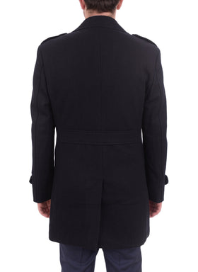 Apollo King Solid Black Double Breasted Wool Overcoat Top Coat
