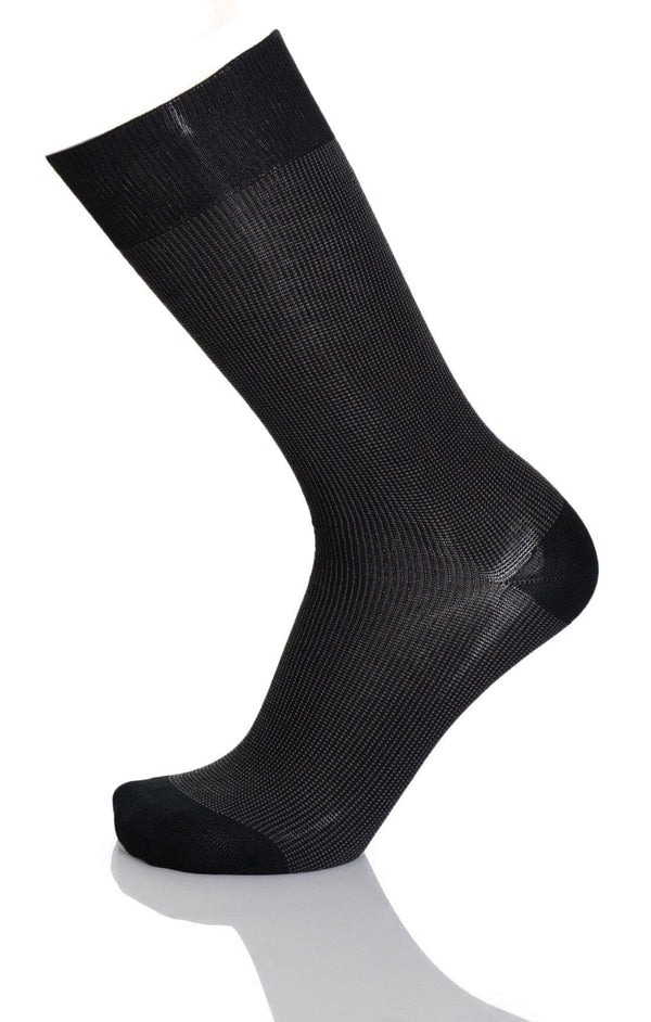 Vannucci Couture Taupe Check Cotton Blend Dress Socks - The Suit Depot
