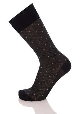 Vannucci Couture Black With Diamond Pattern Cotton Blend Dress Socks