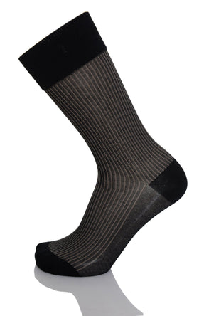 Vannucci Couture Black With Tan Stripes Cotton Blend Dress Socks