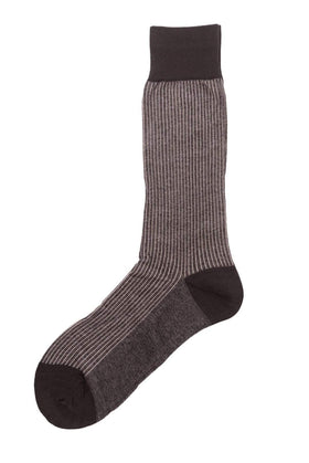 Vannucci Couture Brown Striped Cotton Blend Dress Socks