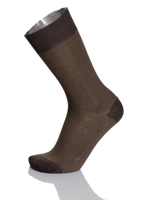 Vannucci Couture Brown Textured Cotton Blend Dress Socks