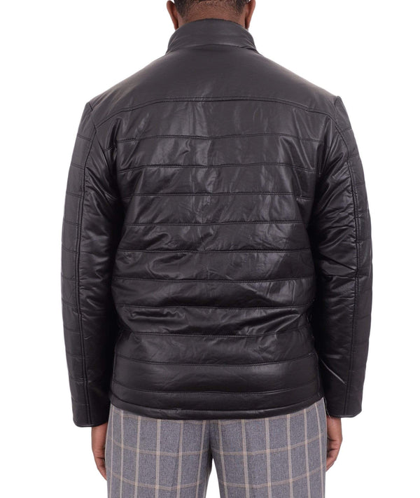 Vella Black Quilted Vegan Leather Car Coat With Removable Faux Fur Collar - The Suit Depot