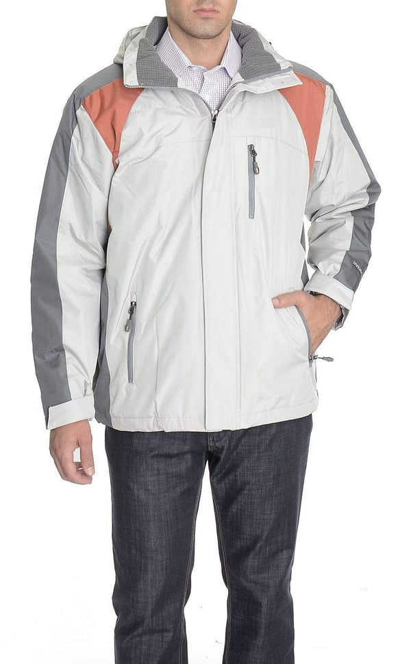 Weatherproof 32 Degrees Ash Gray Water Resistant Coat With Removable Hood - The Suit Depot