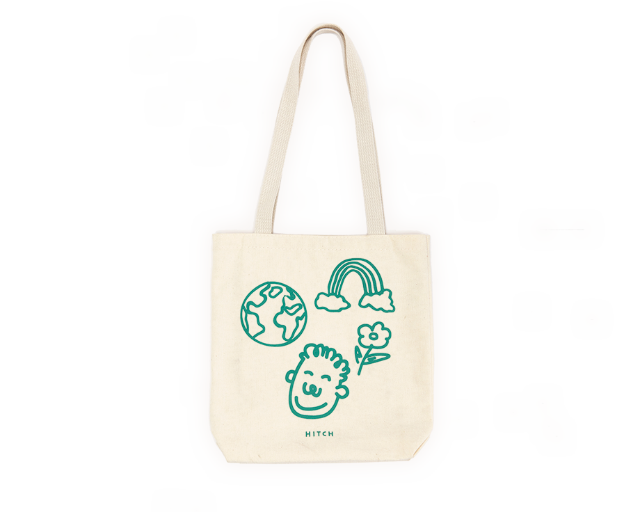 Canvas tote with hand drawings of a rainbow, earth, and person, with the Hitch logo in green