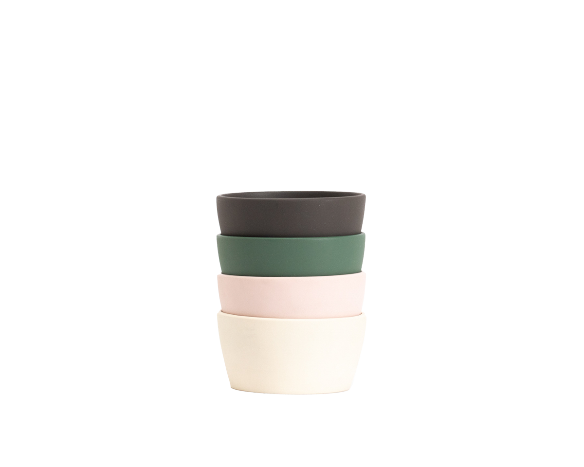 Hitch Bottle Leak-proof  Lids Stacked, Charcoal Gray, Forest Green, Pale Blush, Natural White
