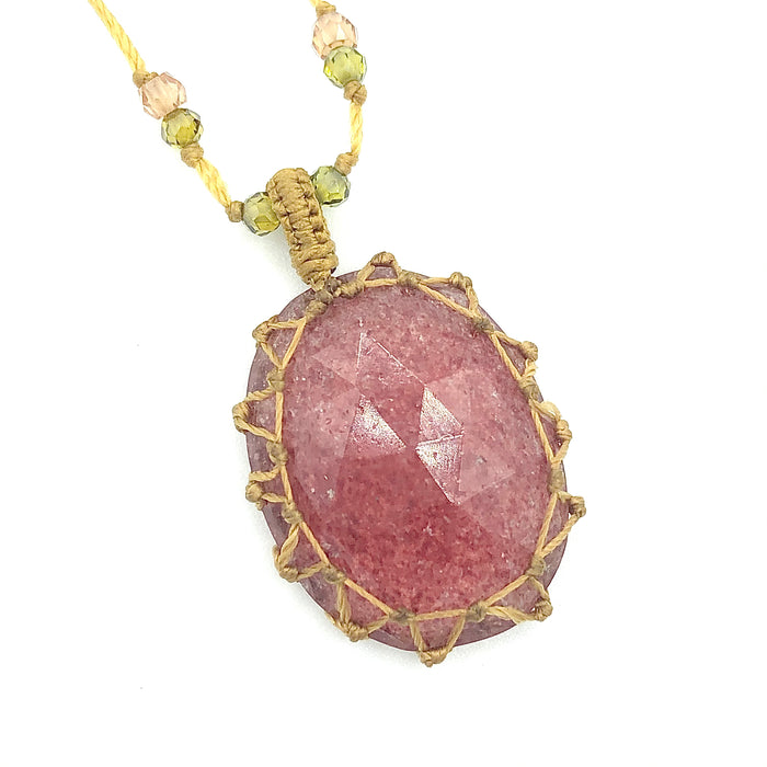 Collier Sharing quartz framboise