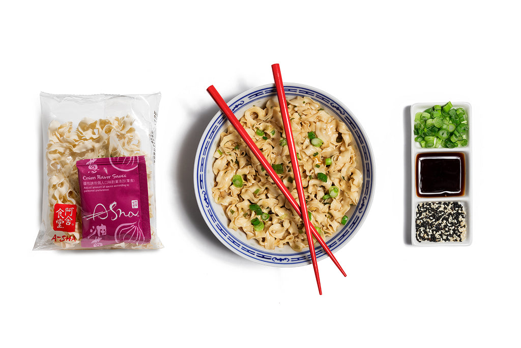 Knife Cut Noodles Hakka Sesame Oil Scallion Flavor (1set With 4 Packs)