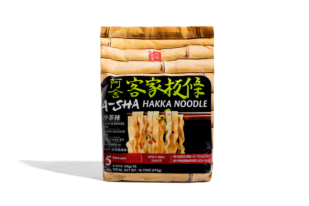 Hakka Wide Noodles - spicy BBQ flavor (1 set with 5 packs)