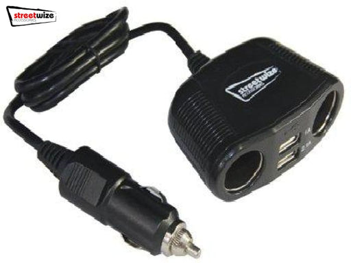 Streetwize 12/24V Twin Sockets With Twin USB Adapters -