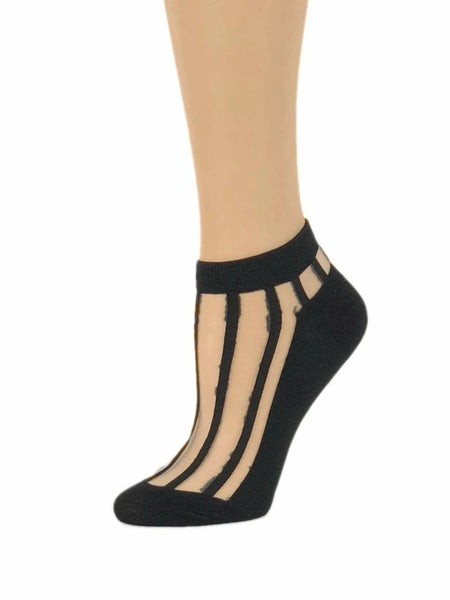 Vertically Striped Sheer Ankle Socks by Global Trendz